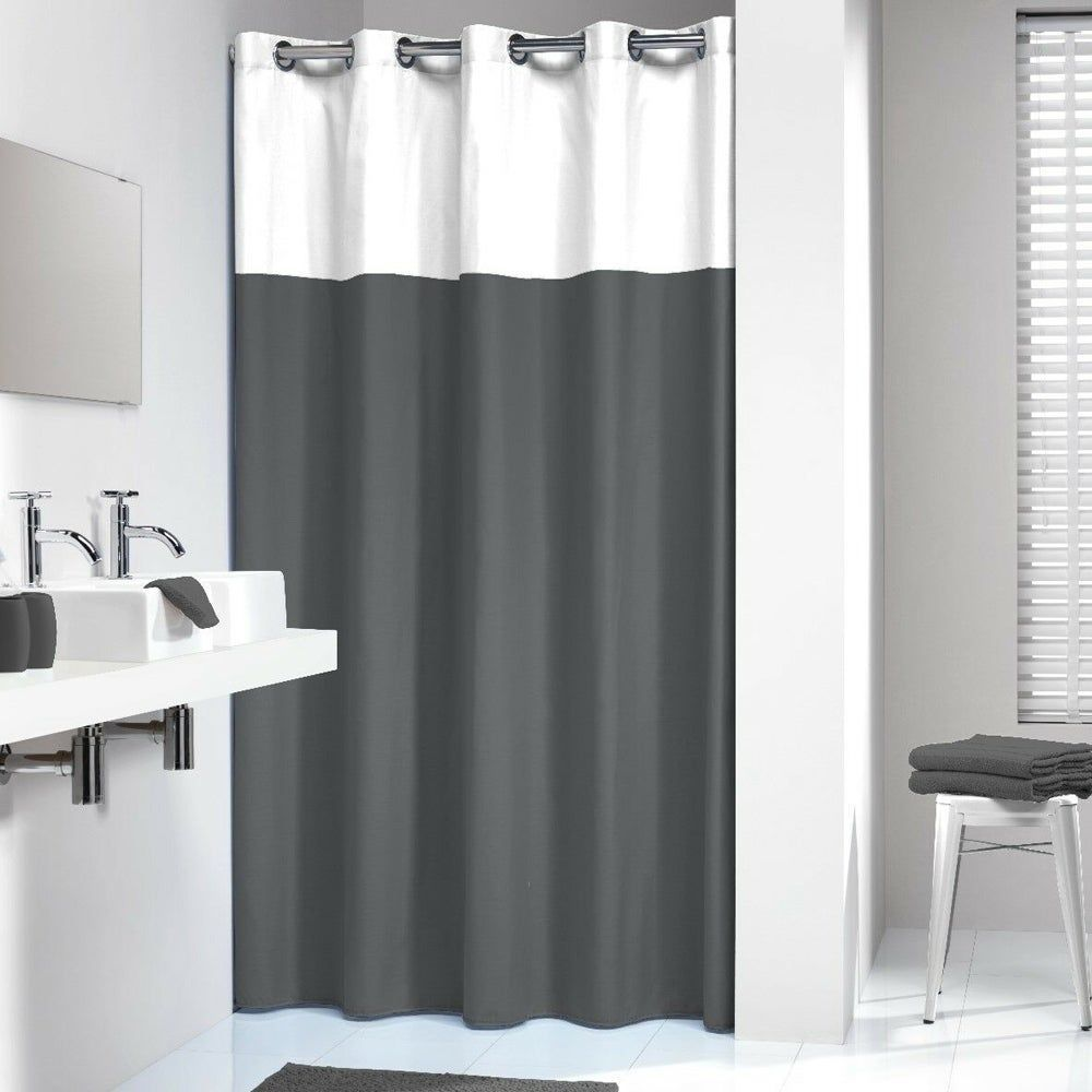 Extra Long Polyester Shower Curtain Black And White 72 X 78 This