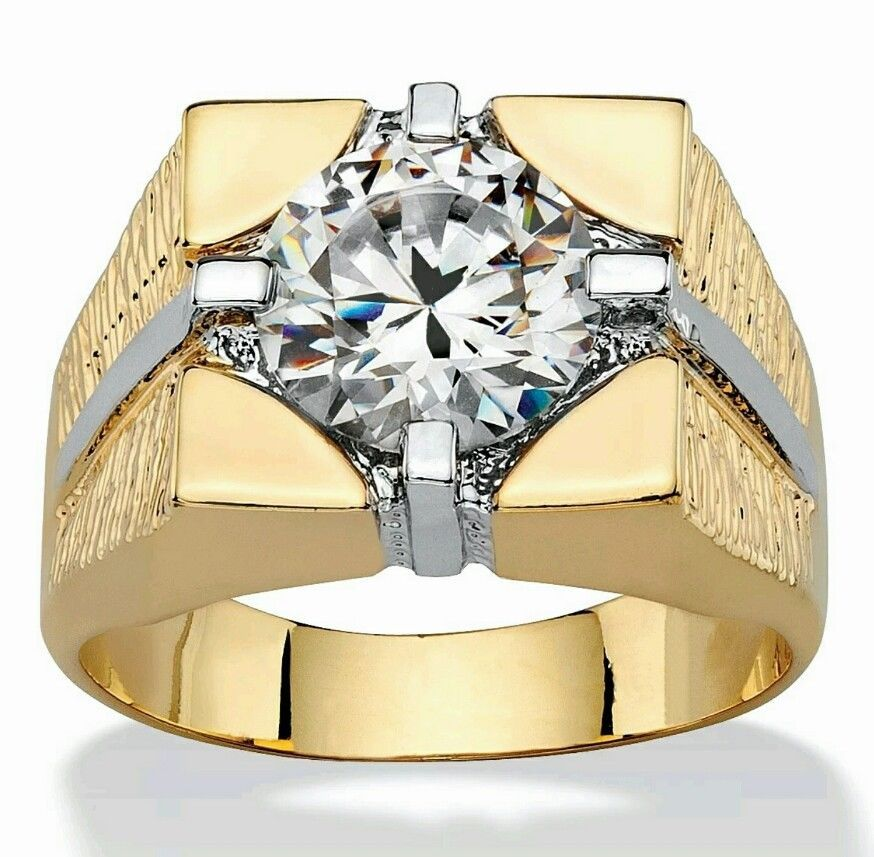 Men's Gold Plated Cubic Zirconia Cocktail Ring Sizes 8 10