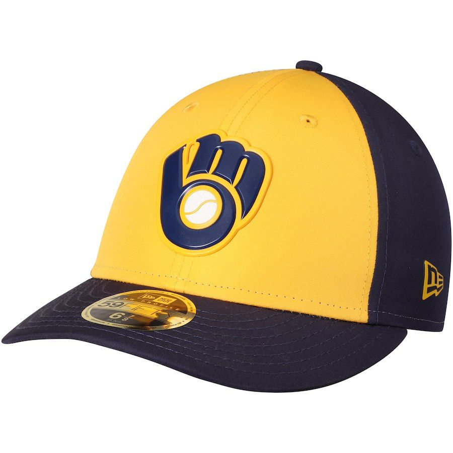low priced 0a389 4457a Men s Milwaukee Brewers New Era Yellow Navy On-field Prolight Batting  Practice Low Profile 59FIFTY Fitted Hat, Sale   19.99 - You Save   16.00