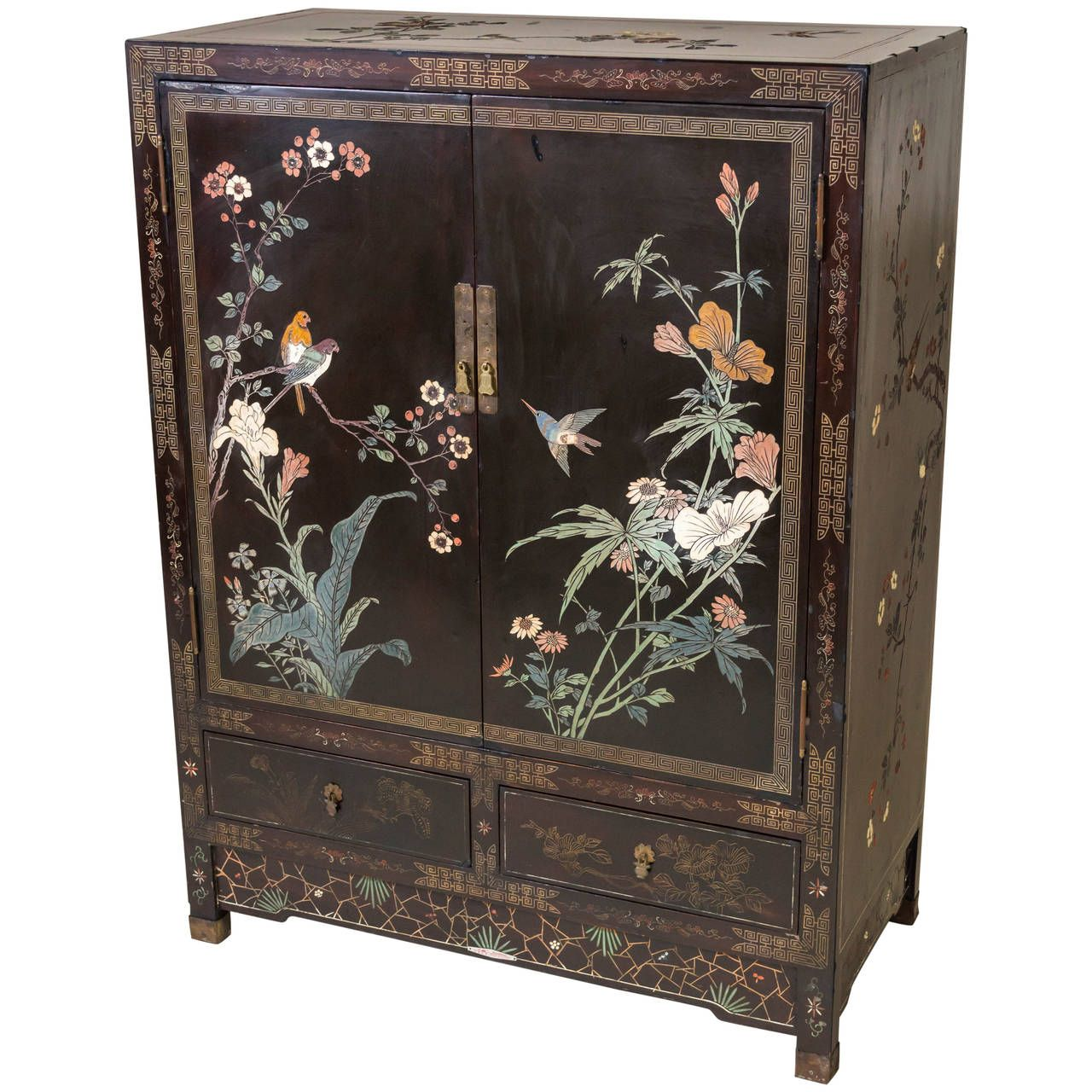 Chinese coromandel and lacquer cabinet shanghai china for Oriental cabinet