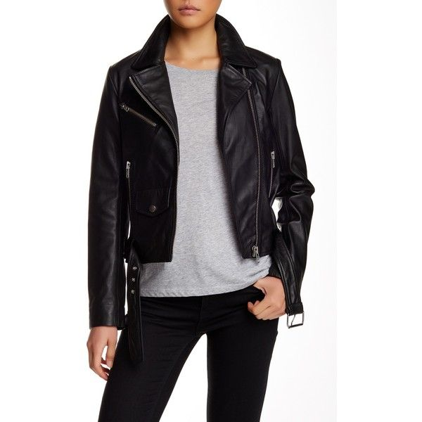 Andy Genuine Leather Moto Jacket ($266) ❤ liked on Polyvore featuring outerwear, jackets, black, moto jacket, leather rider jacket, biker jacket, leather moto jacket and rider jacket