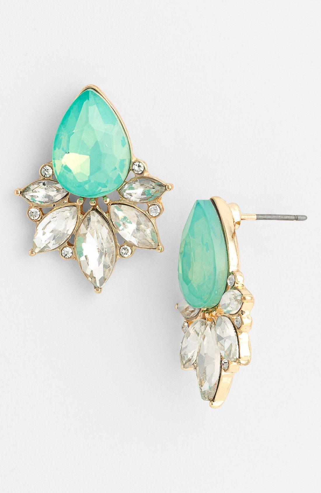 0e4e24ca5c10 Love these mint teardrop fan stud earrings!