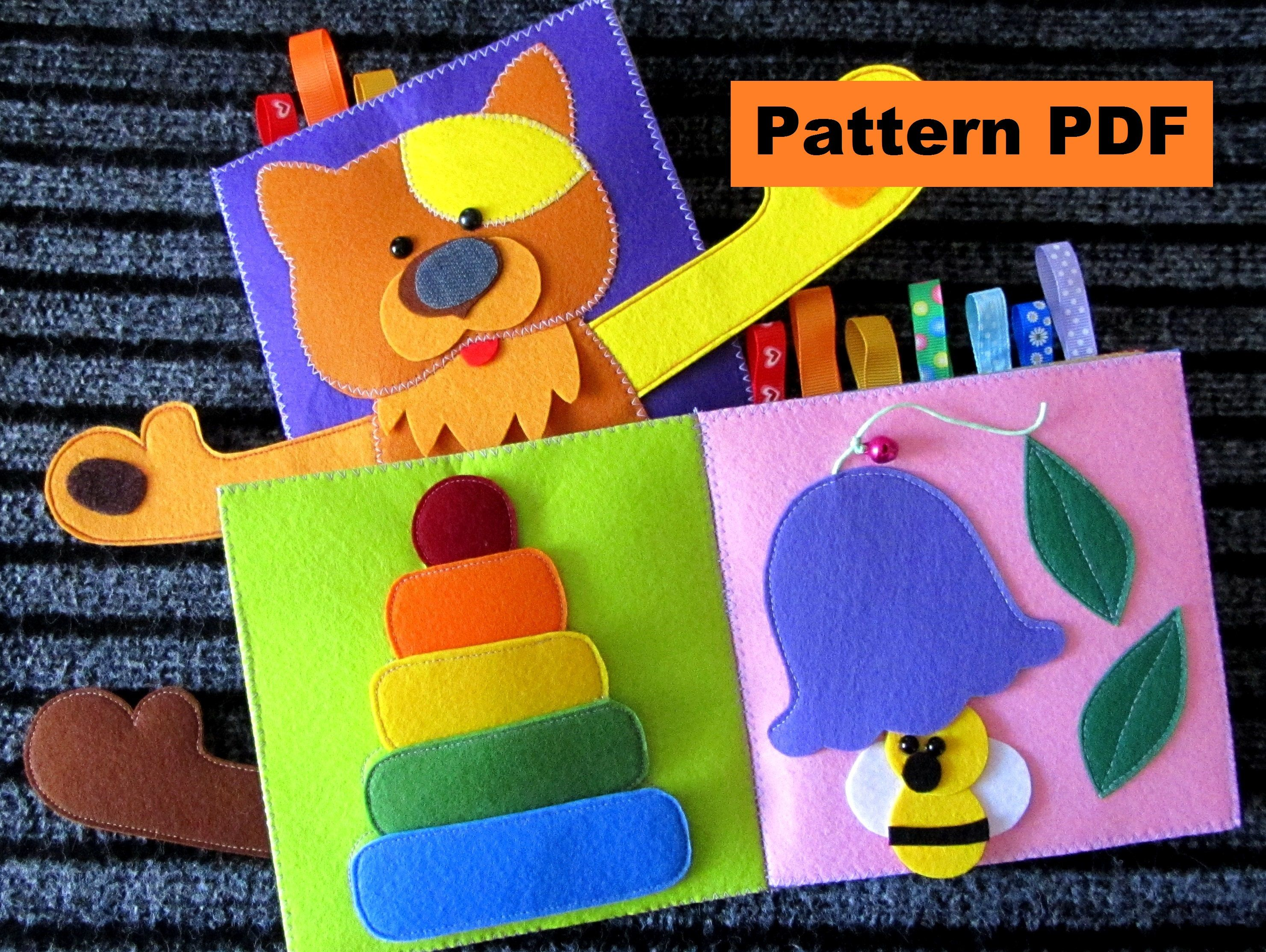 Cat pdf pattern quiet book sewing pattern cover and 4