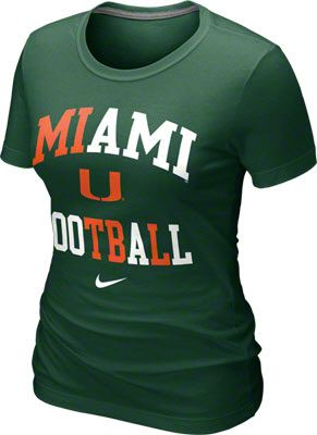 Miami Hurricanes Women's Green Nike Gridiron T-Shirt