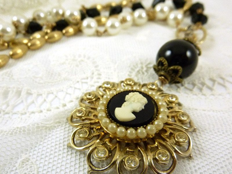Cameo+Necklace+Vintage+Pin+Brooch+Repurposed+by+ATwistOfWhimsy,+$52.00