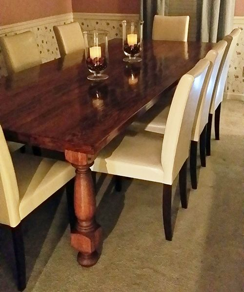 our customer in alabama used our extra large english tavern legs in oak to build this beautiful dining table that will seat the leg proportion to thickness - Extra Large Kitchen Tables