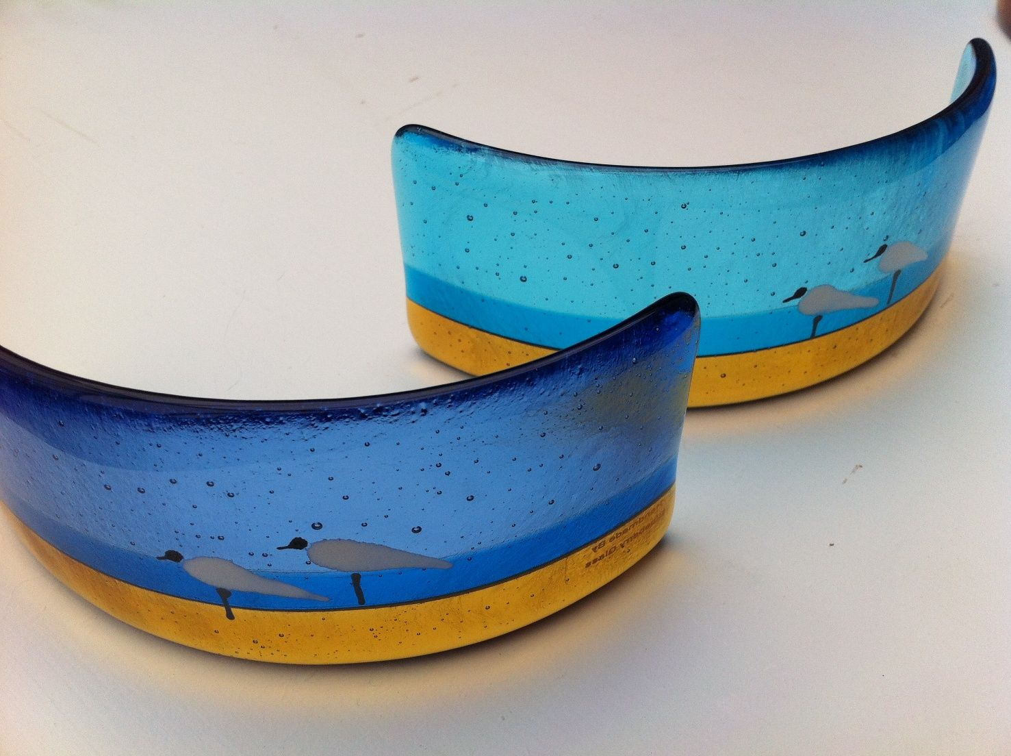 Row of beach huts curved fused glass table clock - Blue Seagull Design Fused Glass Curve