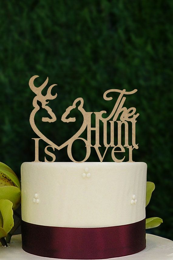 Personalized Wedding Topper Rustic Rifles Hunting Cake Topper Rustic Rustic Wedding Decoration Hunt is Over Wedding Cake Topper