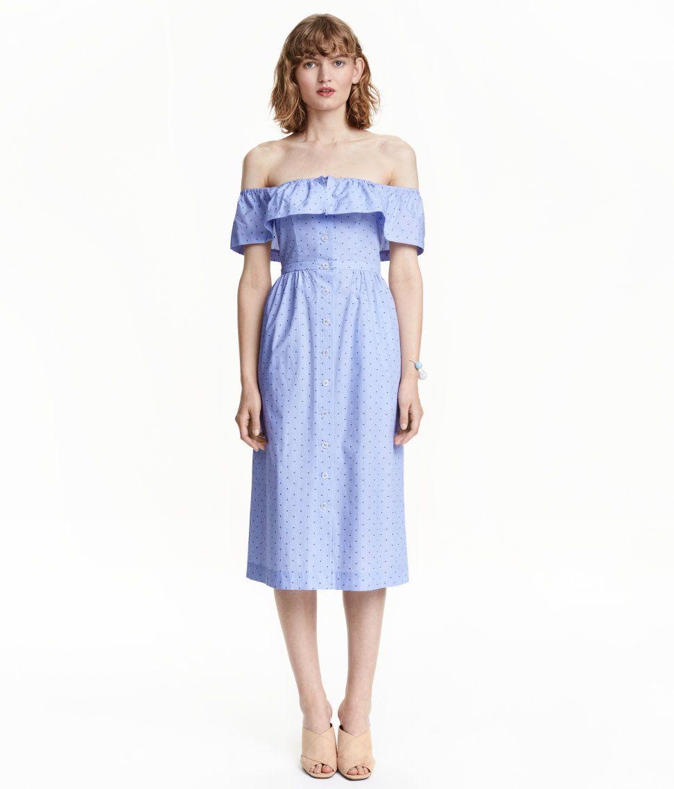 Off-Shoulder-Kleid | Blau gepunktet | Damen | H&M DE | September16 ...