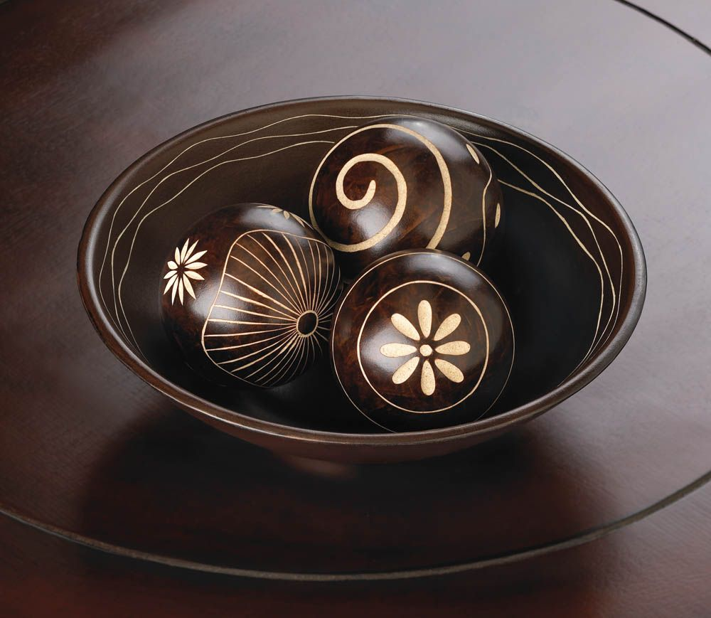 The Rich Chocolate Brown Color Of This Decorative Ball And Basin