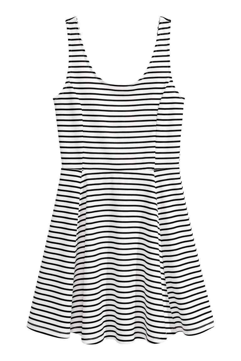 6d297c0531 Dżersejowa sukienka - Biały Czarne paski - ONA