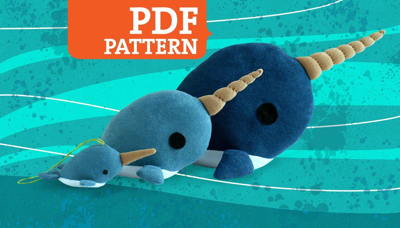 Narwhal PDF Pattern Stuffed Animal, Softie, Plush 3