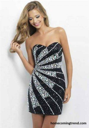 Black Sequined Fitted Short Tight Homecoming Dresses 2014 ...