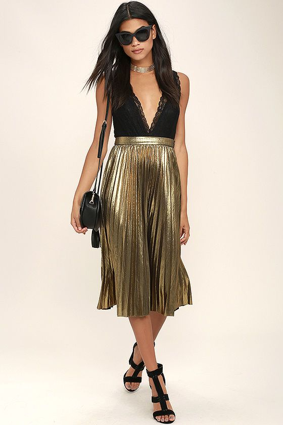510670cd3d Twirling in the moonlight is what the Eclipse of the Heart Gold Midi Skirt  was made for! Dark metallic gold ribbed knit sways from a banded high  waist, ...