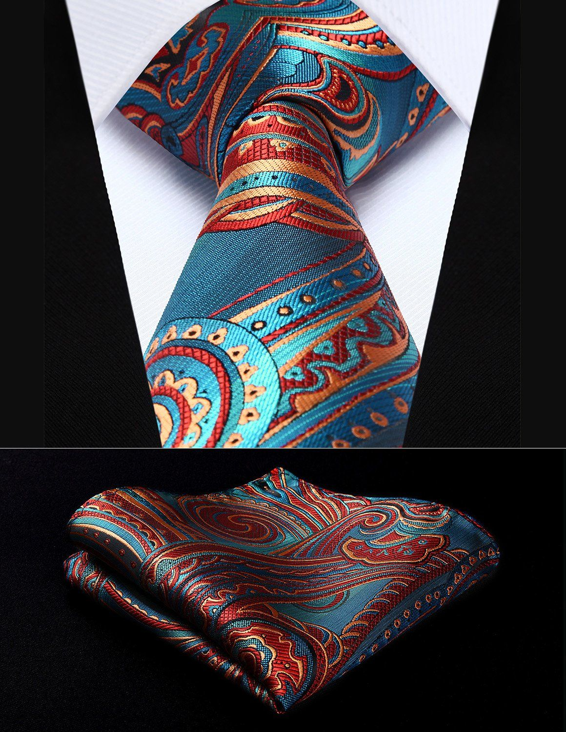 a9b5e45328239 Party Wedding Classic Pocket Square Tie TP930B8S Blue Burgundy Paisley 3.4