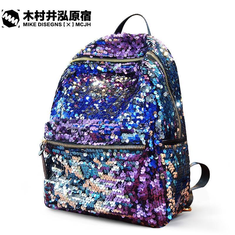 2016 Hot New Famous Fashion Brand Women Backpack Sequins Purple Red Black  Backpacks PU School Bag for Girls Mochila Rasck 44e639098ac