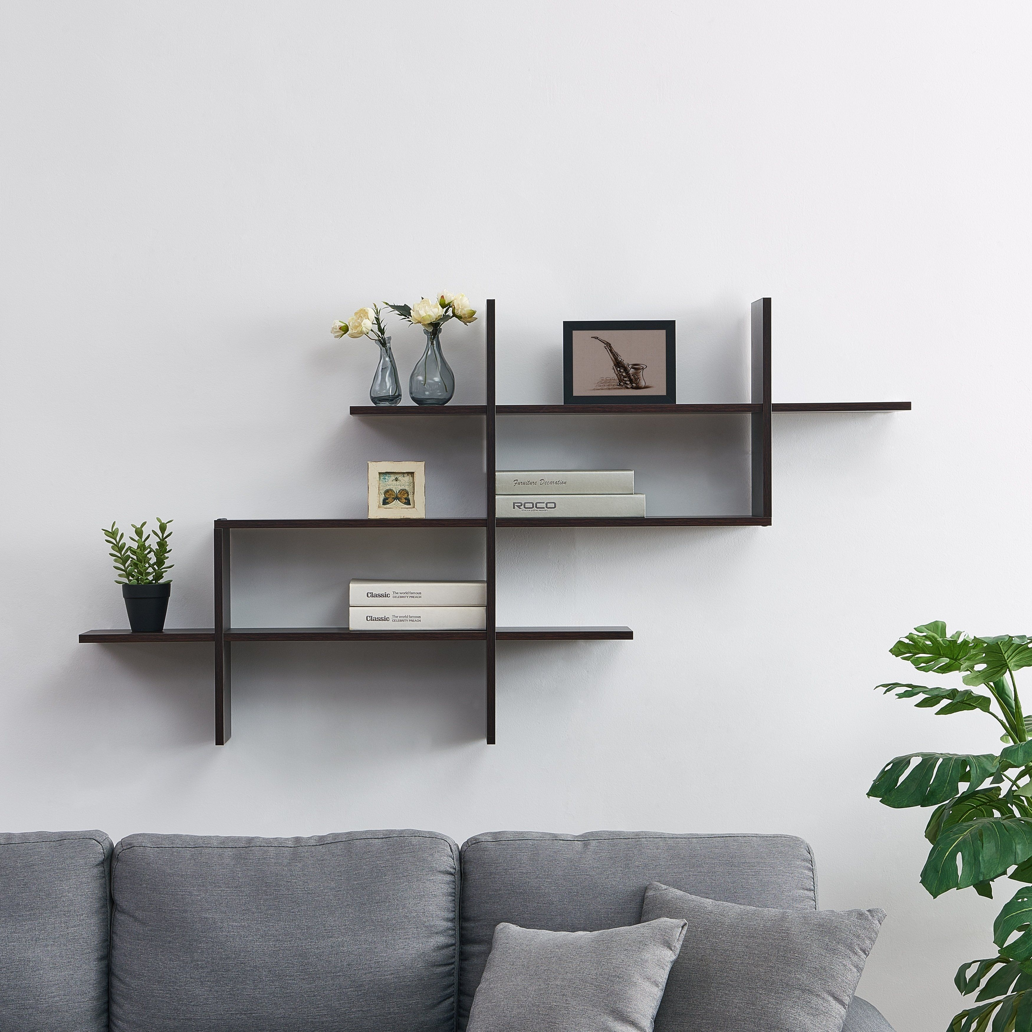 3 Tier Wall Mount Floating Ladder Shelf With Criss Cross Design Walnt Brown Mdf In 2020 Wall Shelves Living Room Modern Wall Shelf Wall Shelf Decor