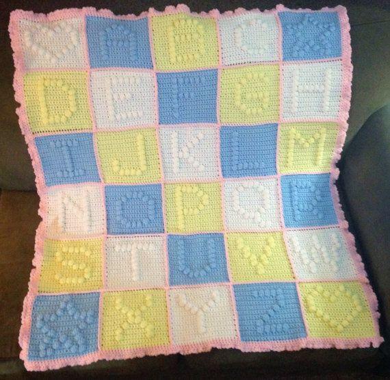 Knitting Pattern For Alphabet Baby Blanket : Alphabet Baby Blanket // Crochet ABC Blanket // by ...
