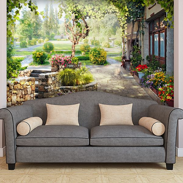 Papier Paint Vinyle jardin dans le chalet #papierpeint #vinyle ...
