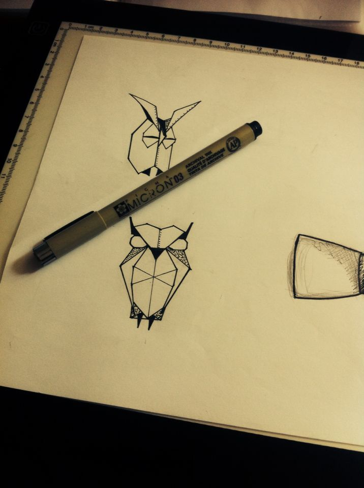 Hibou En Origami Tattoo Origami Tattoos Et Drawings