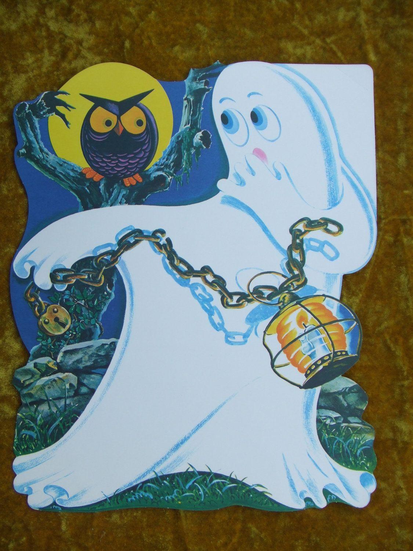 Vintage Halloween Haunted House Ghost Owl Jack O Lantern 1960s Paper Die Cut Decoration NOS