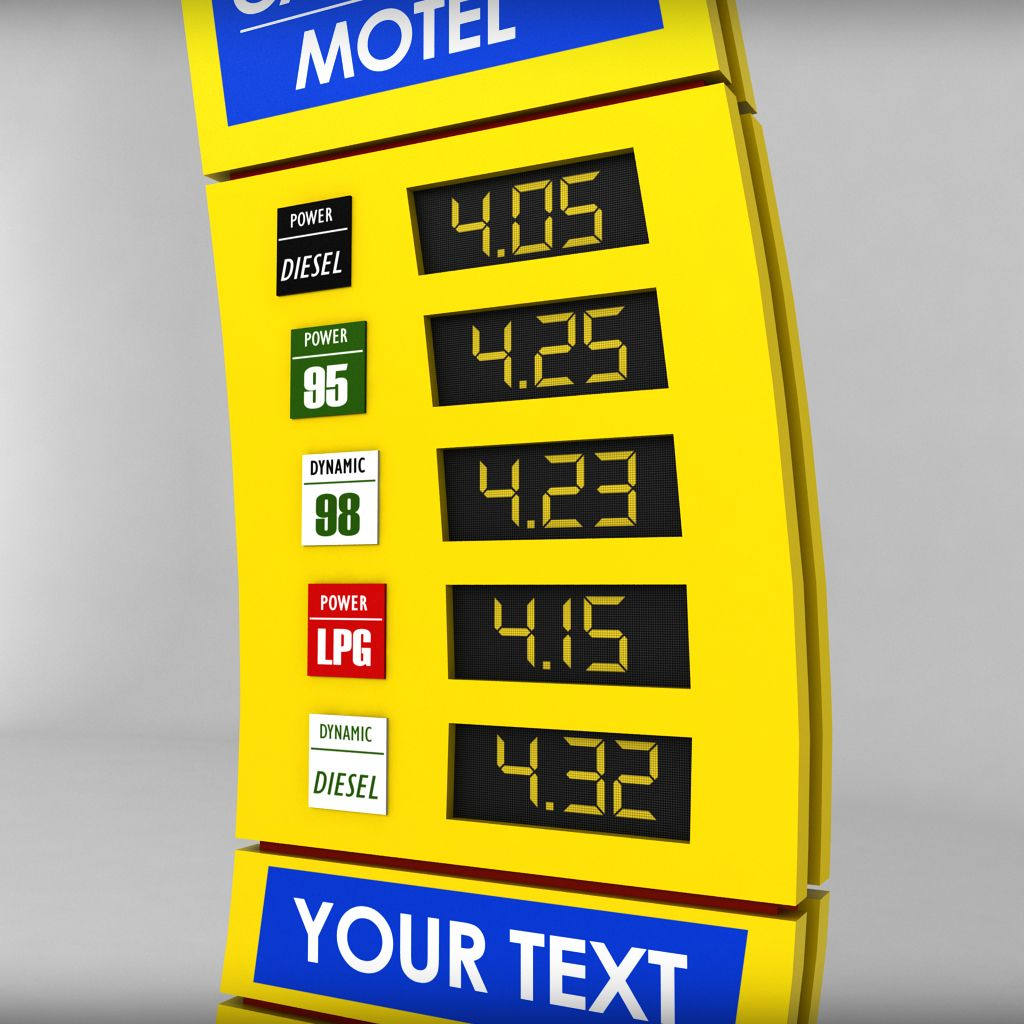 Gas Station Prices >> Gas Station Price Sign Totem Low Poly Pack Price Station Gas