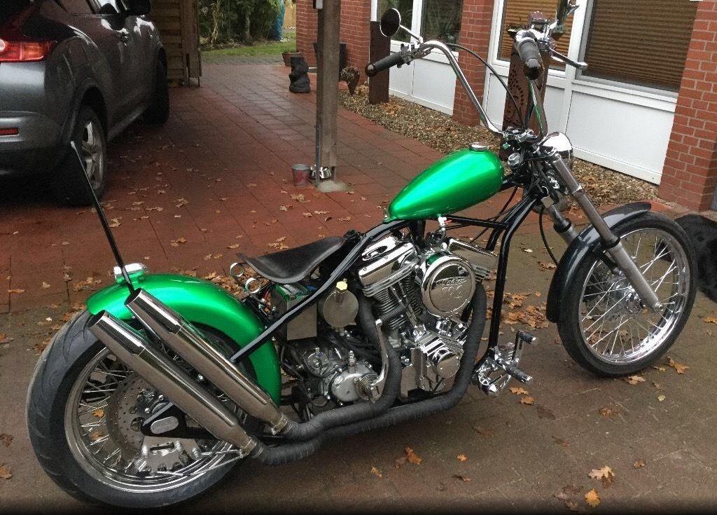 Harley Davidson Evolution Gooseneck custom chopper metalgreen ...