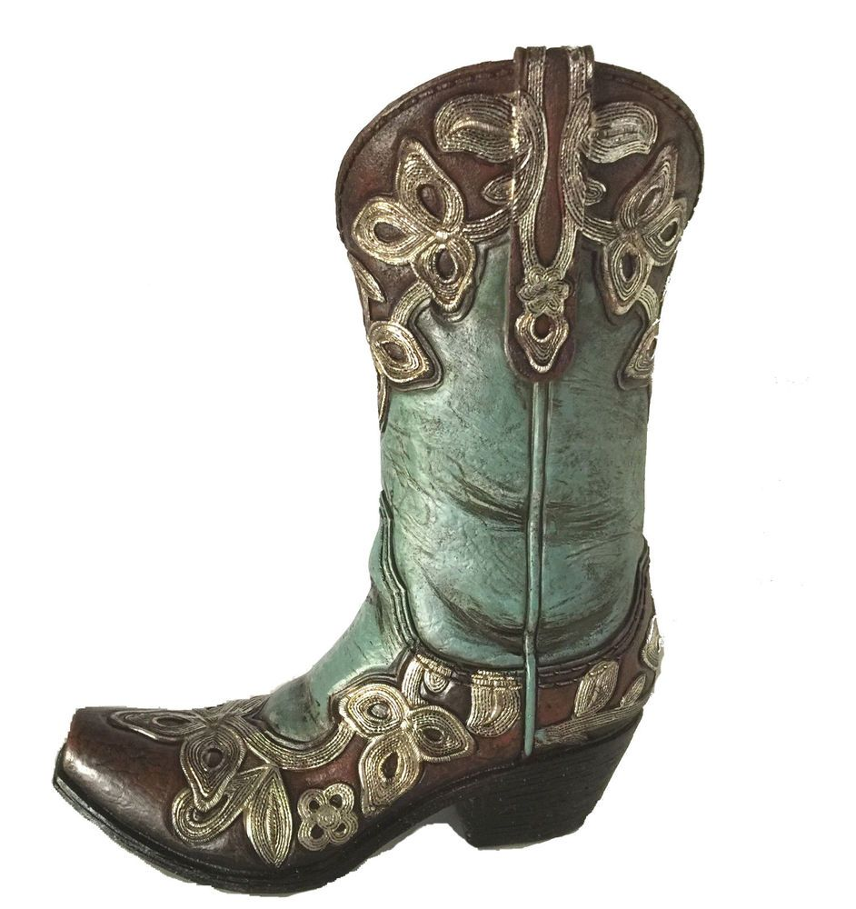 Cowboy Boot Vase Figurine Turquoise Resin Centerpiece Cow Western Home Decor