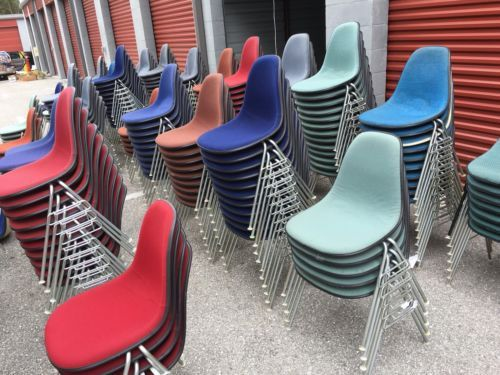 herman miller stacking chairs desk chair bed bath and beyond lot of 250 vintage eames fiberglass upholstered