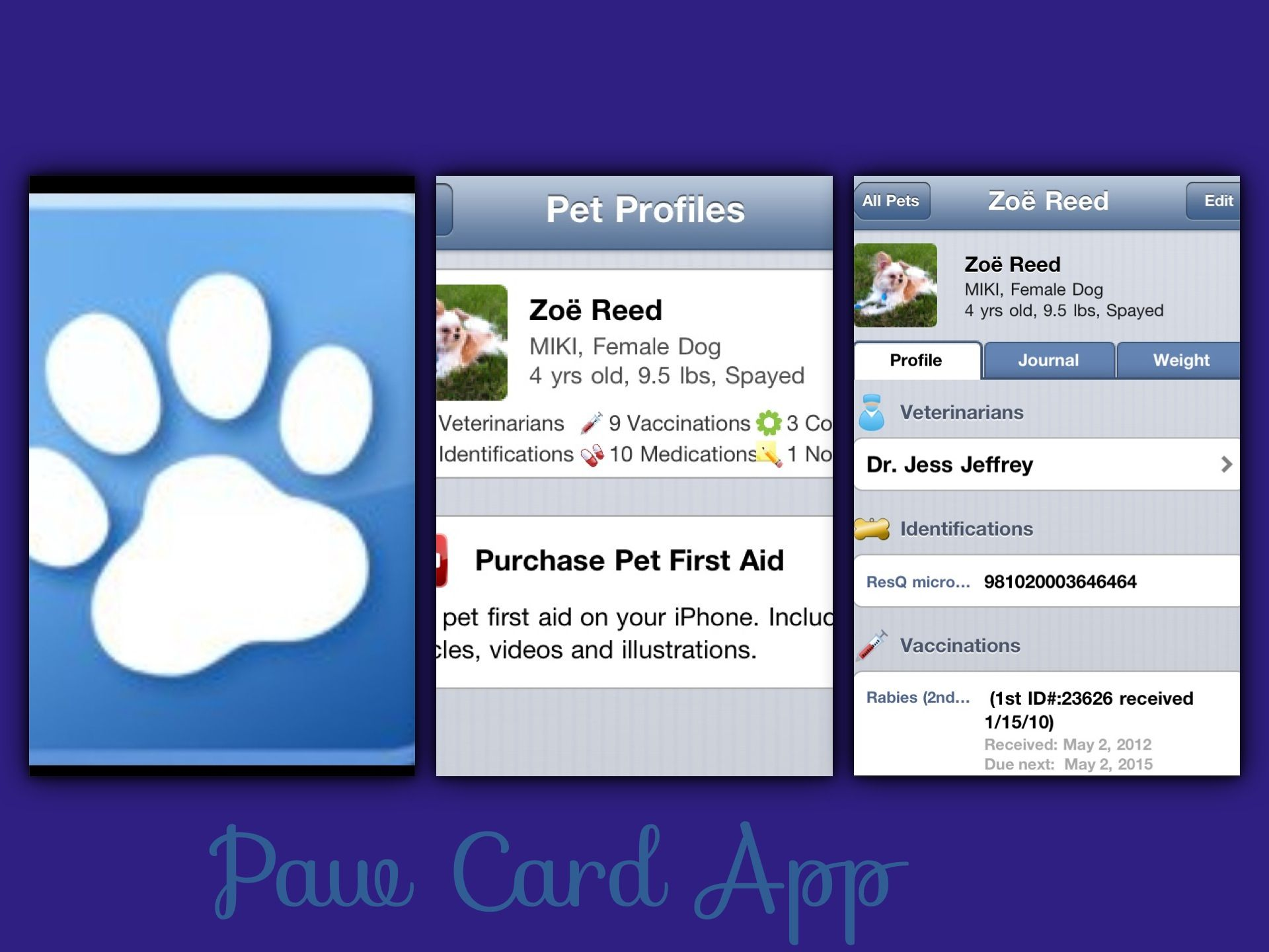 Paw Card App. Keep track of your pets vital information