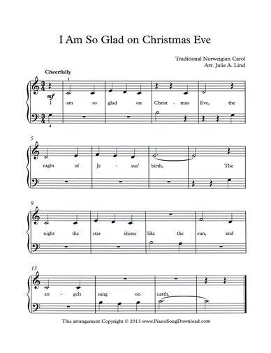 I Am So Glad on Christmas Eve, free Christmas Carol to print, or save as digital music to be ...