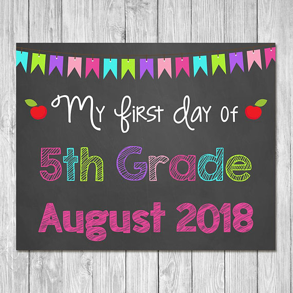 photo about First Day of 5th Grade Printable known as Very first Working day of 5th Quality 2019 Chalkboard Signal Printable Picture