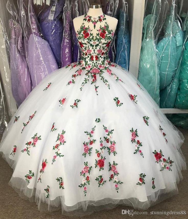 Fabulous White 3D Flowers Ball Gown Quinceanera Prom Dresses Embroidery Sheer Neck Keyhole Corset Back Sweet 16 Dress Vestidos 15 Anos#design