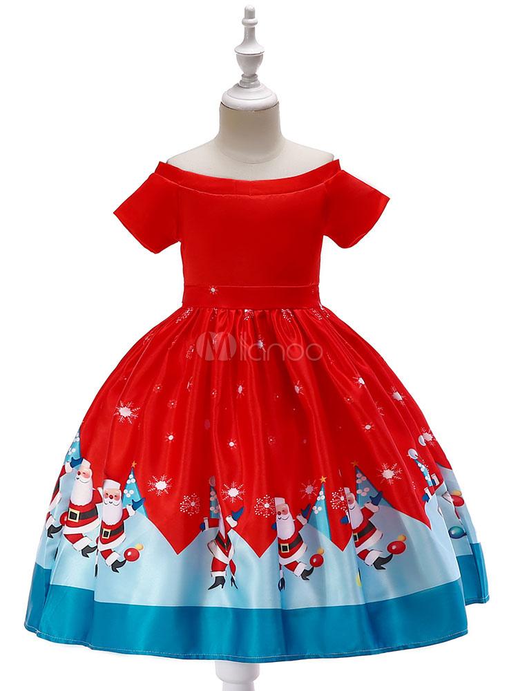 Robe Pere Noel Robes De Petites Filles Rouge De Noël Père Noël Imprimé Satin