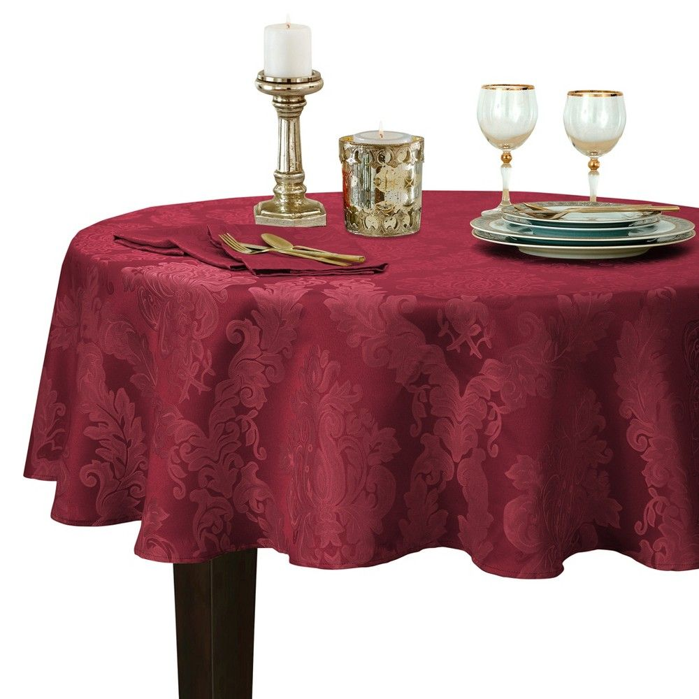"""Barcelona Damask Stain Resistant Tablecloth 60"""" x 84"""