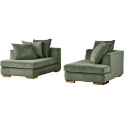 Photo of Soho Loveseat green – woven fabric Paso Doble ¦ green ¦ Dimensions (cm): W: 202 H: 80 D: 156 upholstered furniture> sofa