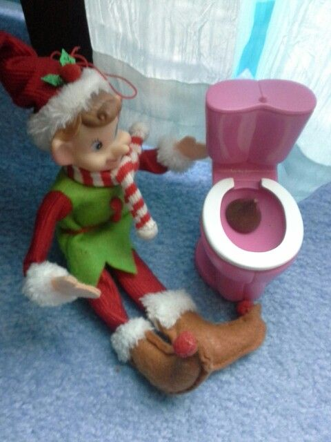 Peppermint pooped in the Barbie toilet