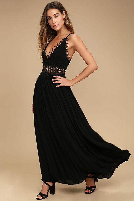 33+ Black lace maxi dress ideas