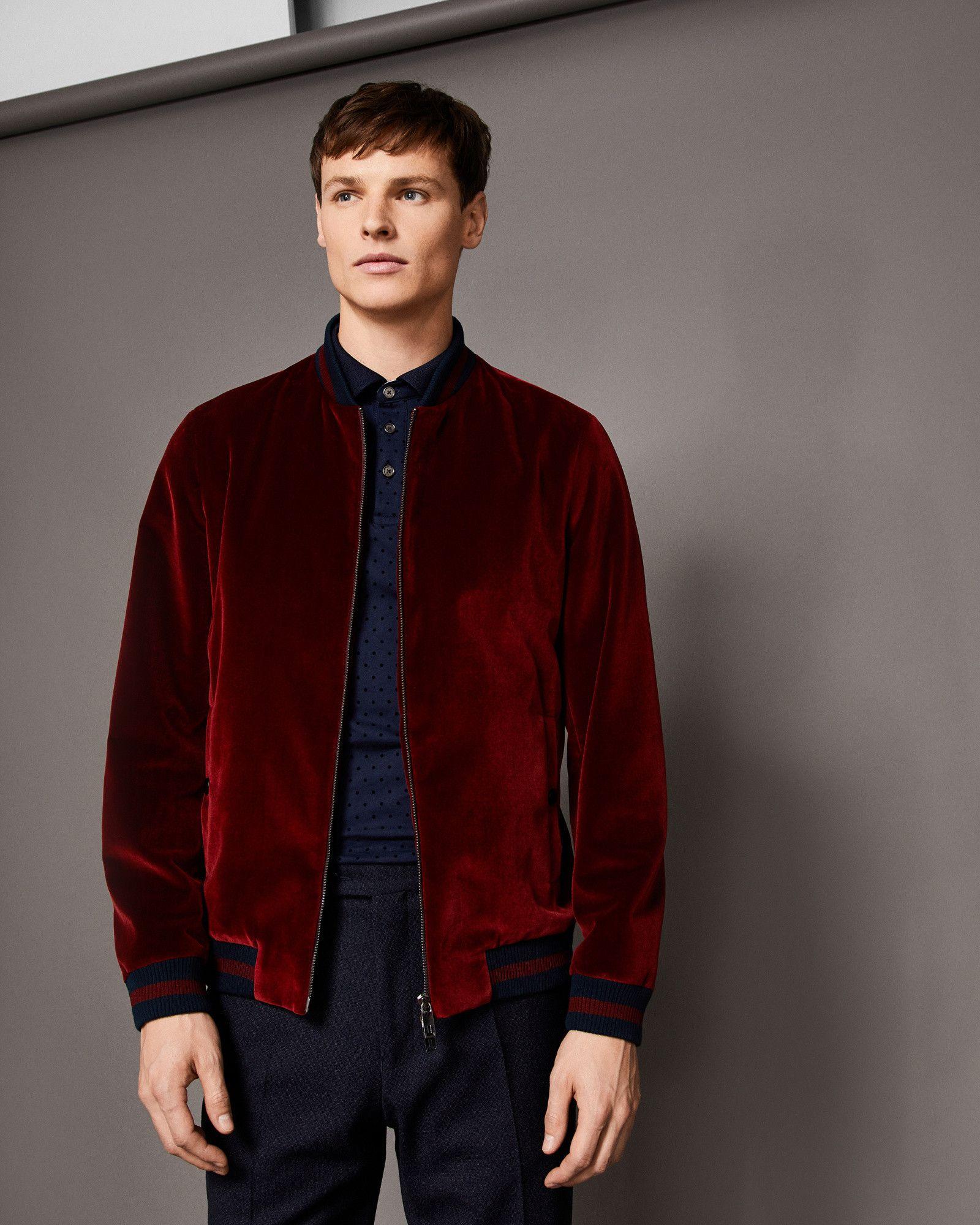 4814f7e23 Ted Baker Velvet bomber jacket Dark Orange