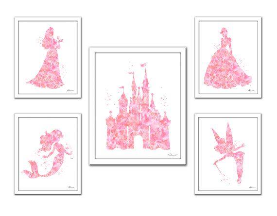 Gift Tinker Bell Wall Art B /& W ART PRINT Disney Castle Princess Nursery