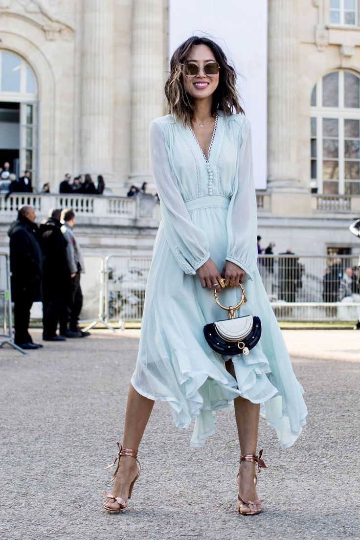 The Best Street Style At Paris Fashion Week Autumn Winter 2017, powder blue long sleeve handkerchief hem midi dress.