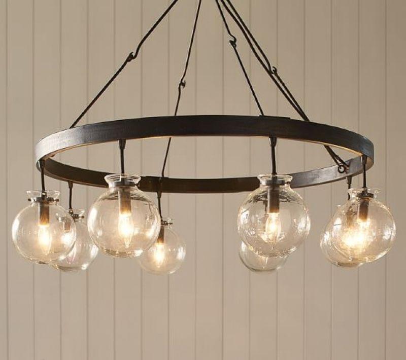 Barrett Glass Globe Chandelier | Pottery Barn For Globes For Chandelier Splendid Globes For ...