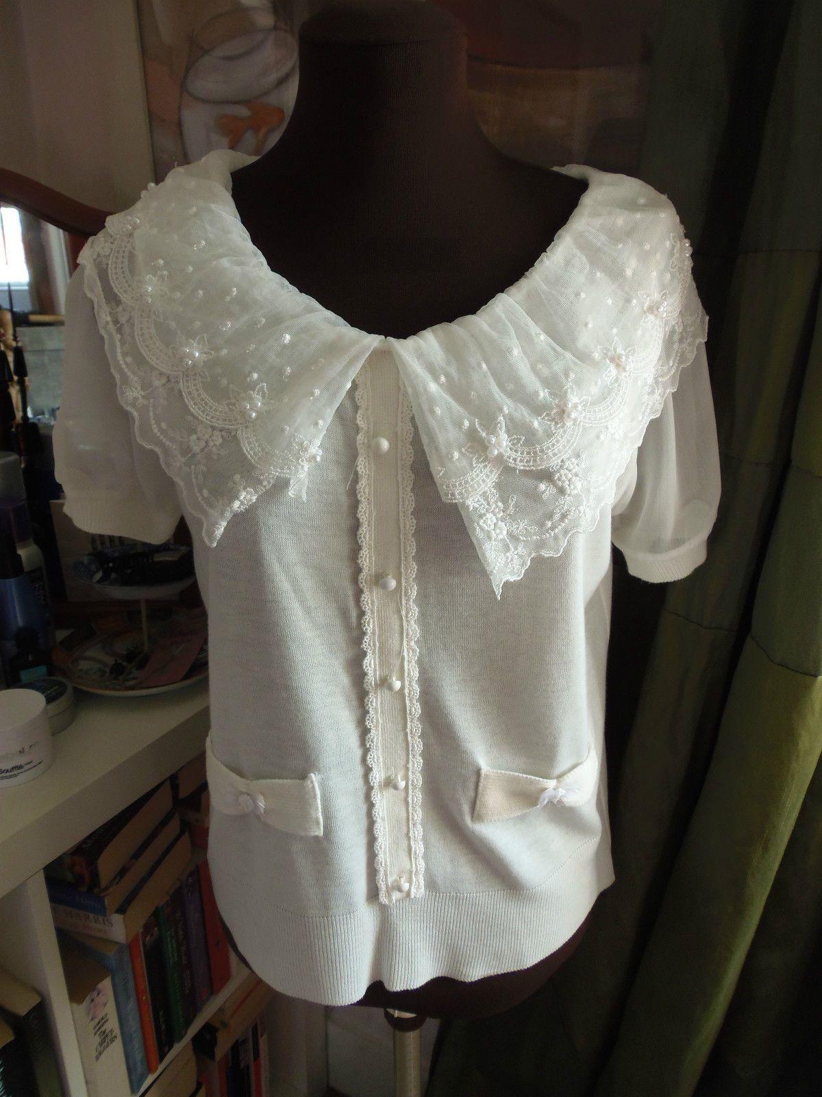 NEW JSK London Creamy White Fine Knit Lace Collar Pearl Cardigan Jumper UK 8 10 | eBay