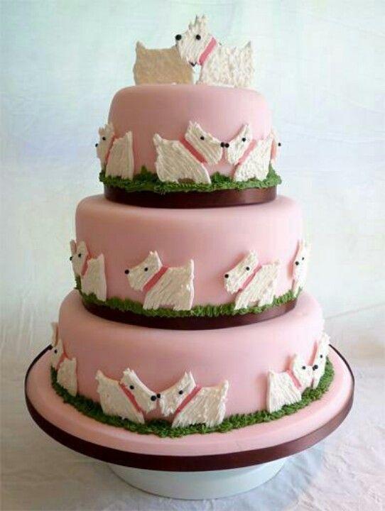 Scottie dog cake. I need it, but with black scotties ...
