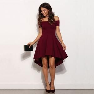 Vintage 2018 Women Sexy Slash neck Solid color Party dress Autumn New Fashion A-Line black Red wine Knee-Length dresses 1