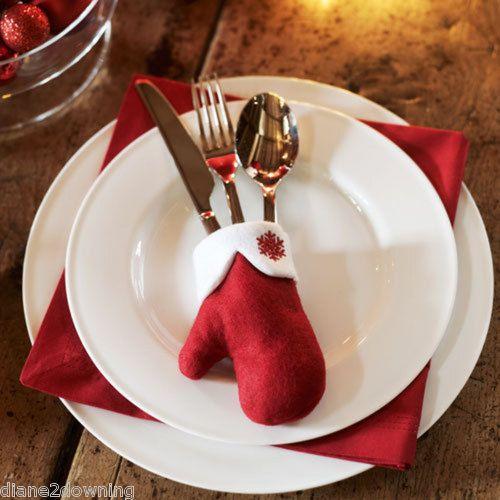 Santa Glove Cutlery Holder Christmas Table Decoration Avon Ebay Christmas Table Decorations Christmas Table Christmas Dining