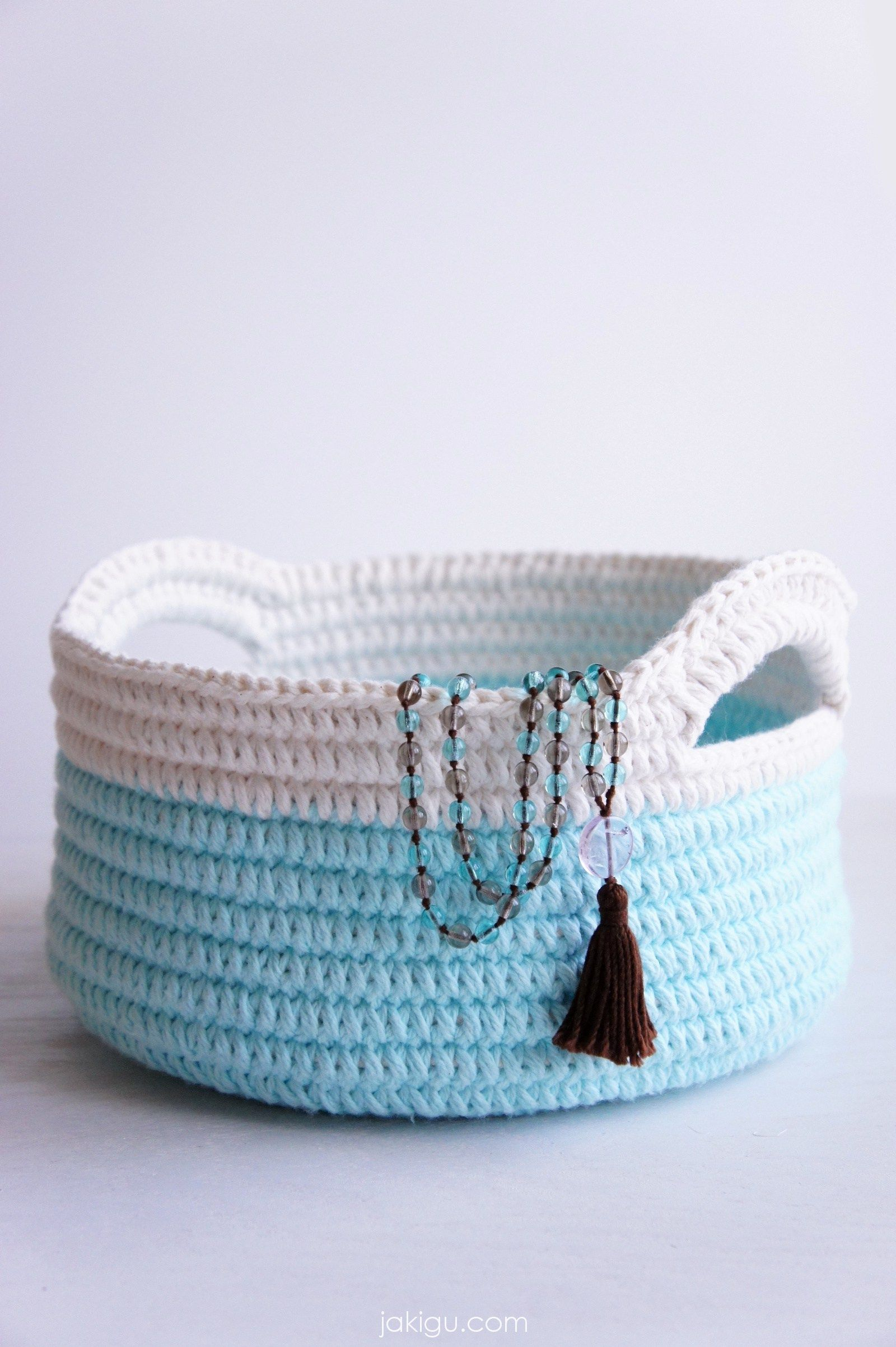 Pattern preview for simple yet durable stacking crochet baskets with ...