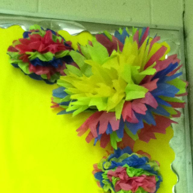 tissue paper flowers for spring bulletin board