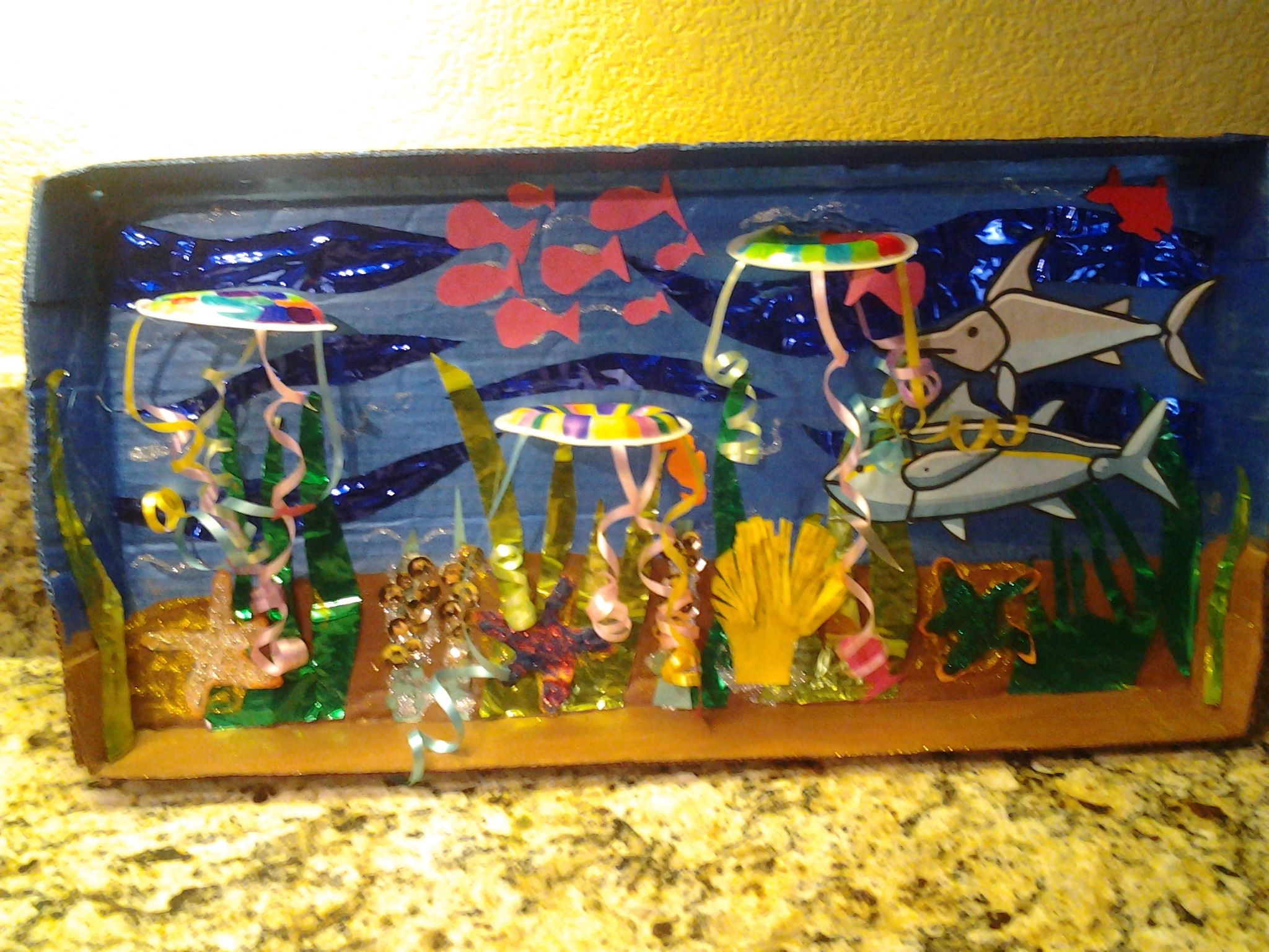 My niece needed to make a Under the Sea Jellyfish diorama for her