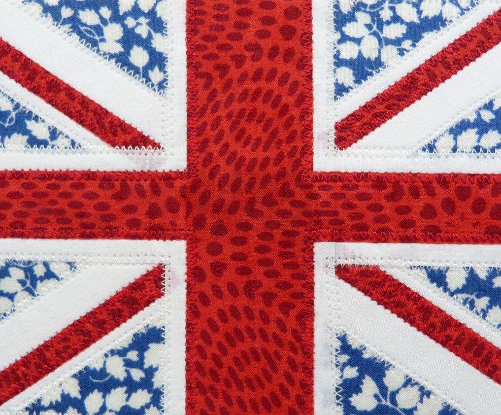 Textile Postcard Union Jack Flag Handmade Union Jack Flag Union Jack